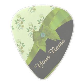 Pretty green vintage floral flower pattern polycarbonate guitar pick