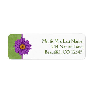 Pretty Green with Purple Flower Address Labels