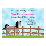 Pretty Grey Horse with Flowers Birthday Party 13 Cm X 18 Cm Invitation Card
