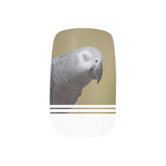 Pretty Grey Parrot Minx Nail Art