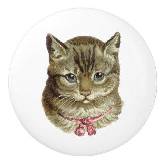 Pretty Grey Tabby Cat with pink bow Ceramic Knob
