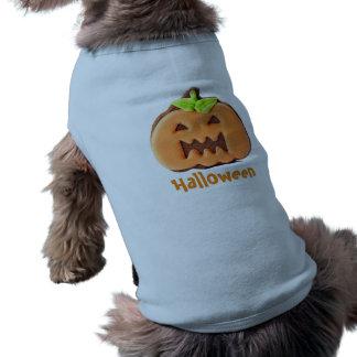 Pretty Halloween Orange Pumpkin Sleeveless Dog Shirt