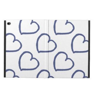 Pretty hand drawn hearts design dark blue on white