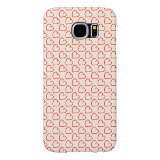 Pretty hand drawn hearts design red on pink samsung galaxy s6 cases