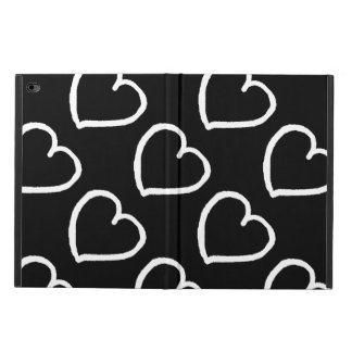 Pretty hand drawn hearts design white on black