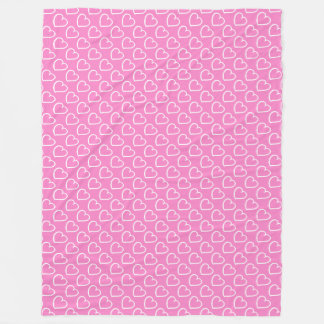 Pretty hand drawn hearts design white on pink fleece blanket