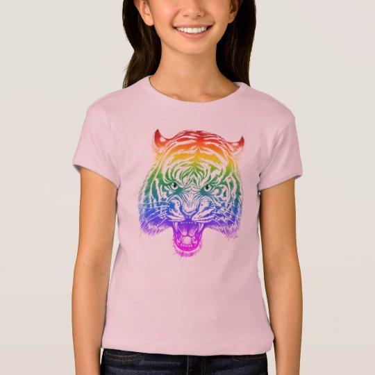 Pretty Hand Drawn Tiger Girl's T-shirt for Kids