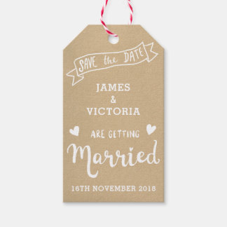 Pretty hand lettering kraft save the date tag