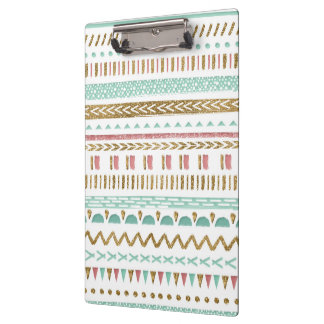 Pretty hand paint tribal Aztec geometric design Clipboard
