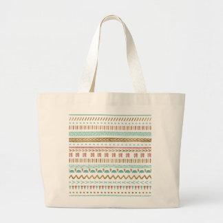 Pretty hand paint tribal Aztec geometric design Large Tote Bag