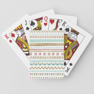 Pretty hand paint tribal Aztec geometric design Poker Deck