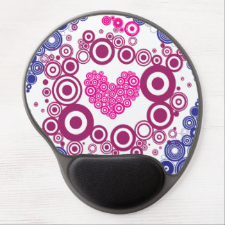 Pretty Heart Concentric Circles Girly Teen Design Gel Mouse Pad