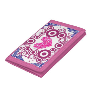 Pretty Heart Concentric Circles Girly Teen Design Tri-fold Wallet