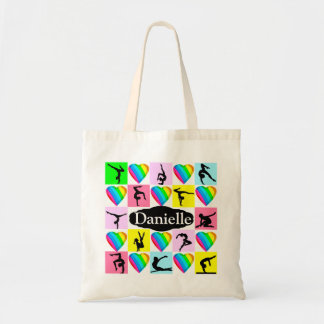 PRETTY HEART FILLED PERSONALIZED GYMNAST TOTE BAG
