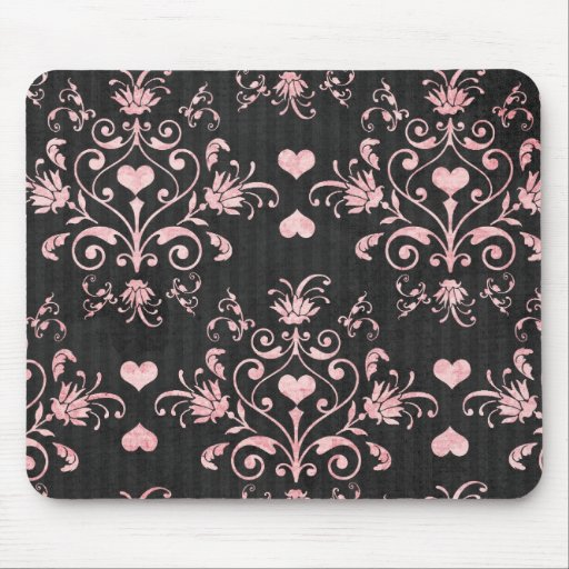 pretty heart pink damask on washed black mousepad