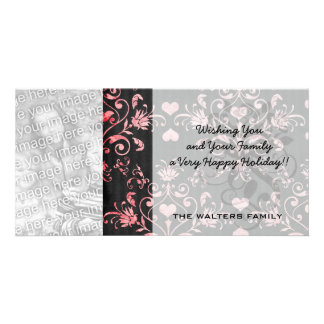 pretty heart pink damask on washed black photo greeting card