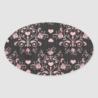pretty heart pink damask on washed black oval sticker