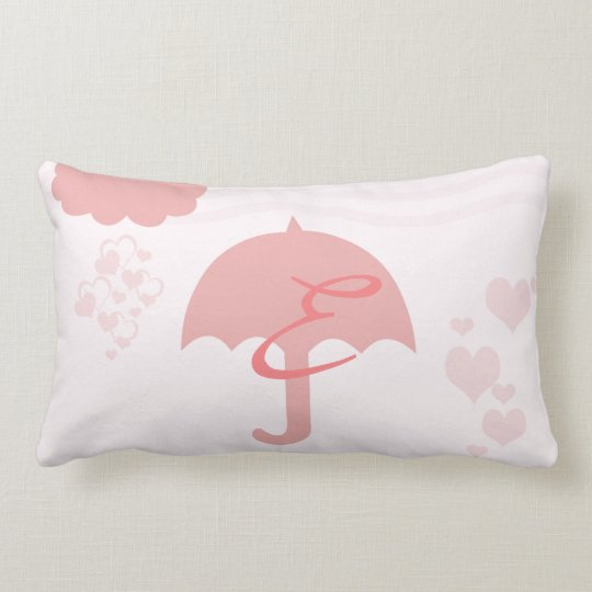 Pretty Heart Rain Baby Nursery Monogrammed Pillow