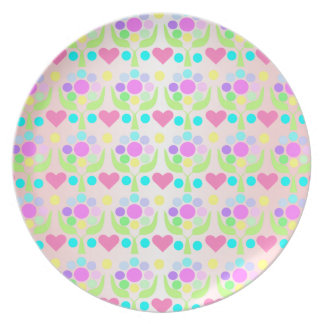 Pretty hearts and Flowers Plate