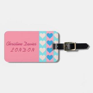 Pretty hearts personalised luggage labels luggage tags