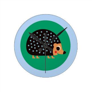 Pretty hedgehog round clock