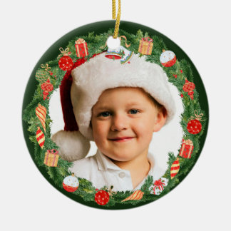 Pretty Holiday Wreath Photo Template Christmas Ornament