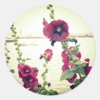 Pretty Hollyhock Floral Classic Round Sticker