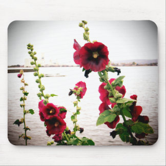 Pretty Hollyhock Floral Mouse Mat