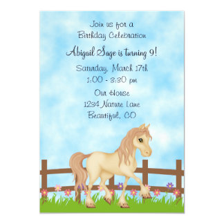 Pretty Horse and Flowers Birthday Invitation