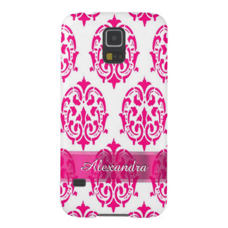 Pretty hot pink and white personalized damask galaxy s5 covers