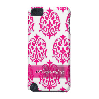 Pretty hot pink and white personalized damask iPod touch (5th generation) case