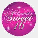 Pretty Hot Pink Sparkle Sweet Sixteen Sticker