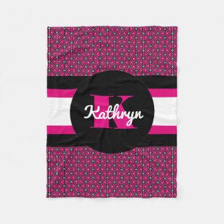 Pretty Hot Pink Symmetry w/Personalization Fleece Blanket