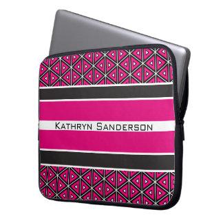 Pretty Hot Pink Symmetry w/Personalization Laptop Sleeve