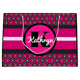 Pretty Hot Pink Symmetry w/Personalization Large Gift Bag