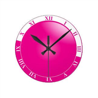 Pretty Hot Pink & White Roman Numeral Clocks