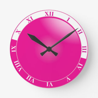 Pretty Hot Pink & White Roman Numeral Round Clock