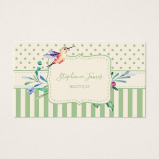 Pretty Hummingbird Floral and Stripes Boutique Business Card