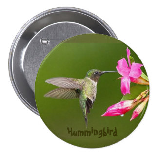 Pretty Hummingbird - Large 3 Inch Round Button