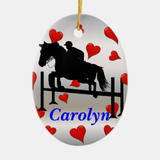 Pretty Hunter Jumper Horse & Rider Christmas Ornament