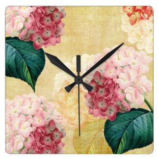 Pretty Hydrangea Floral Square Wall Clock