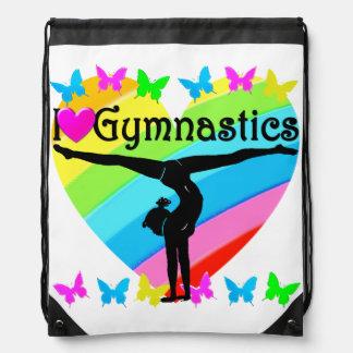 PRETTY I LOVE GYMNASTICS RAINBOW DESIGN DRAWSTRING BAG
