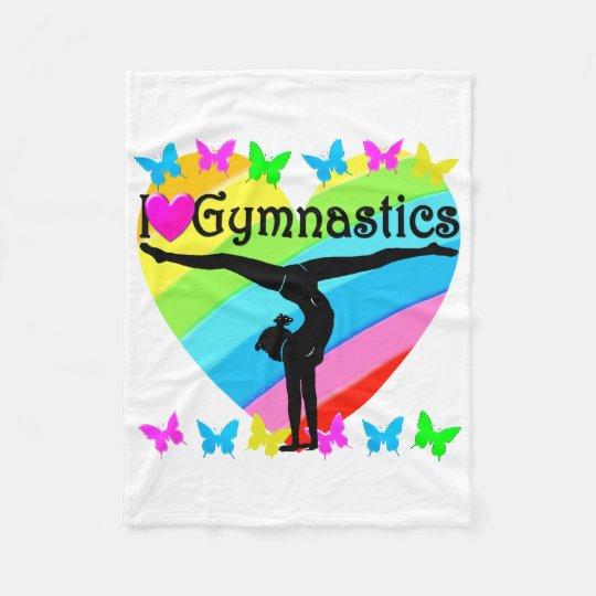 PRETTY I LOVE GYMNASTICS RAINBOW DESIGN FLEECE BLANKET