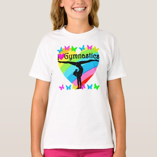 PRETTY I LOVE GYMNASTICS RAINBOW DESIGN T-Shirt