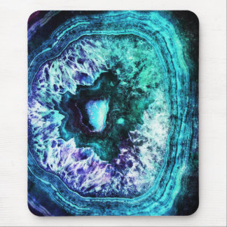 Pretty Icy Turquoise and Purple Geode Crystal Mouse Mat