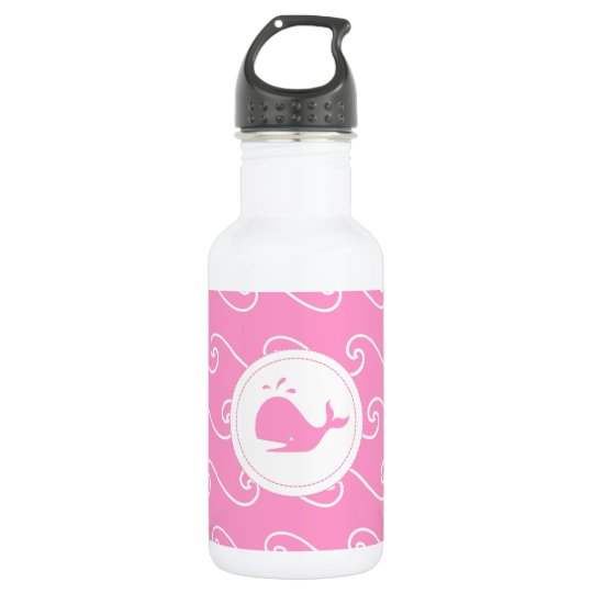 Pretty in Bright Pink Whales Tale and Waves 532 Ml Water Bottle