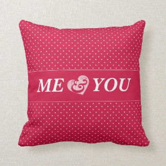 Pretty in pink and white polka dots valentine cushion