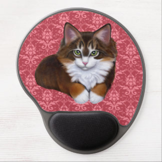 Pretty in Pink Fluffy Kitty Cat Mousepad Gel Mouse Mat