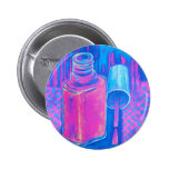 Pretty in Pink Nail Polish 6 Cm Round Badge