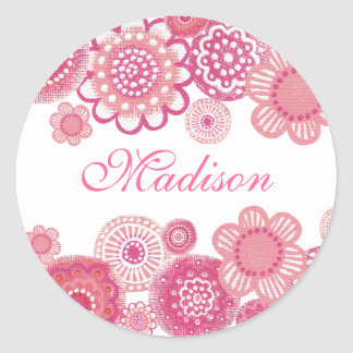 Pretty in Pink Painted Girls Name Cupcake Topper Classic Round Sticker